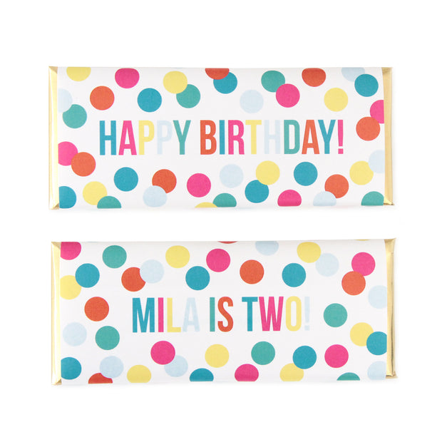Cue the Confetti Personalized Candy Bar Wrapper and Gold Foil - Sweet Paper Shop
