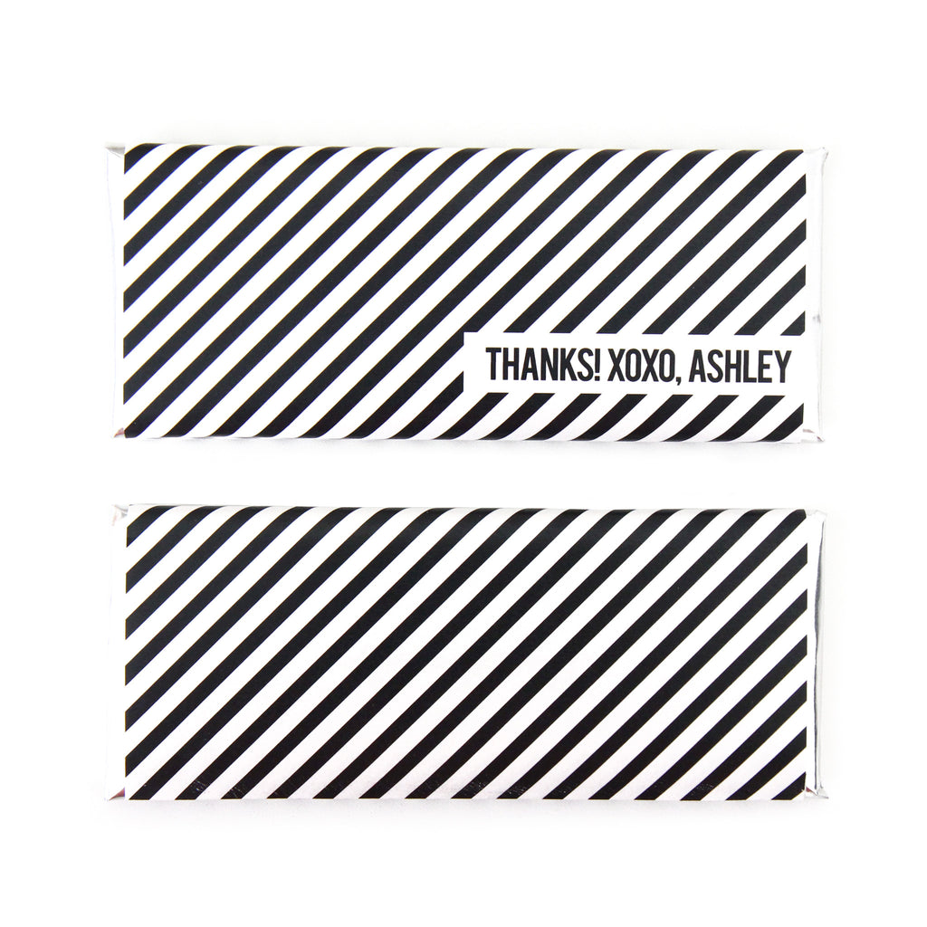 Diagonal Stripes Personalized Candy Bar Wrapper - Sweet Paper Shop - Black, White, Silver Foil