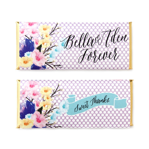 Watercolor Bouquet and Polka Dots Personalized Candy Bar Wrapper - Sweet Paper Shop  - Lavender Purple, Gold Foil