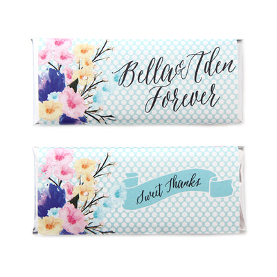 Watercolor Bouquet and Polka Dots Personalized Candy Bar Wrapper - Sweet Paper Shop  - Sky Blue, Silver Foil