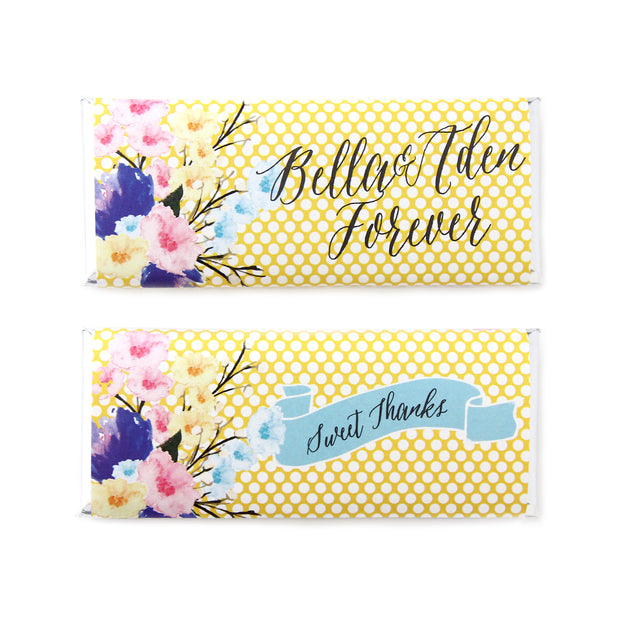 Watercolor Bouquet and Polka Dots Personalized Candy Bar Wrapper - Sweet Paper Shop  - Lemon Yellow, Silver Foil