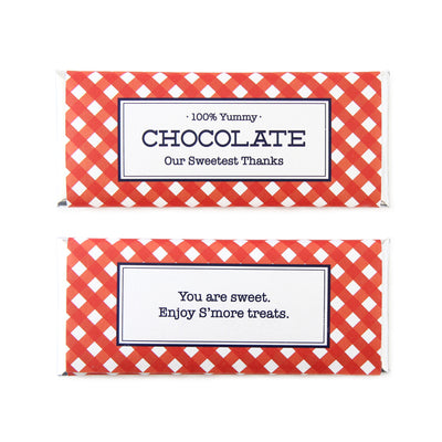 Gingham Personalized Candy Bar Wrappe- Sweet Paper Shop - Navy Blue, Red and Silver Foil