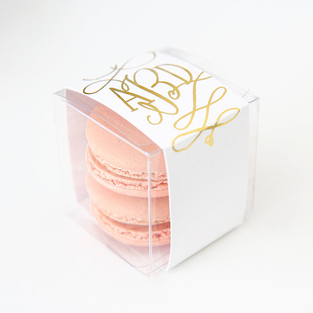 Personalized Gold Calligraphy Script Monogram Favor Box - Sweet Paper Shop