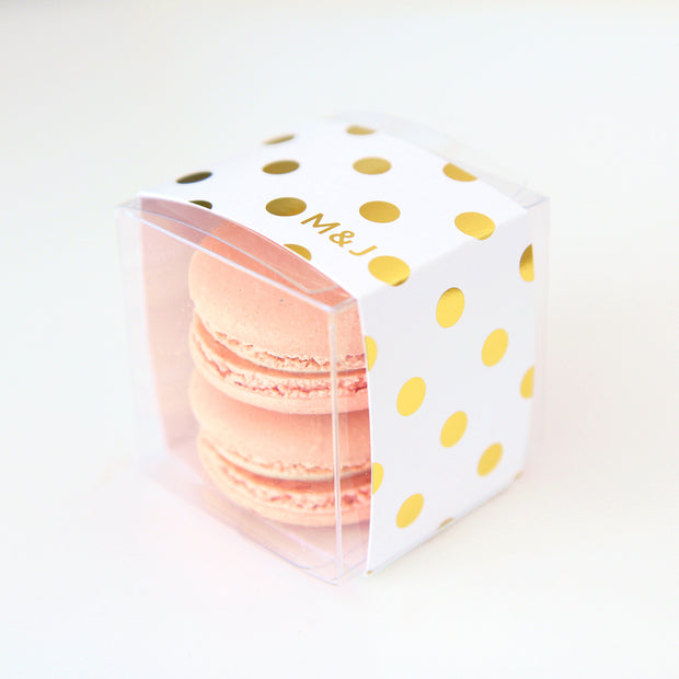Personalized Gold Polka Dots Favor Box - Sweet Paper Shop