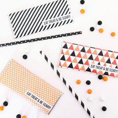 Personalized Halloween Candy Bar Wrappers - Stripes, Triangles and Polka Dots - Black, White, Orange, Silver Foil - Sweet Paper Shop