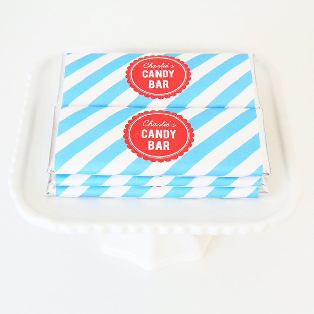 Candy Stripes Personalized Candy Bar Wrapper - Sweet Paper Shop