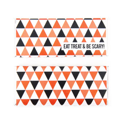 Halloween Modern Triangles Personalized Candy Bar Wrapper - Black, White, Orange, Silver Foil - Sweet Paper Shop