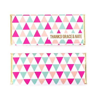 Modern Triangles Personalized Candy Bar Wrapper - Sweet Paper Shop