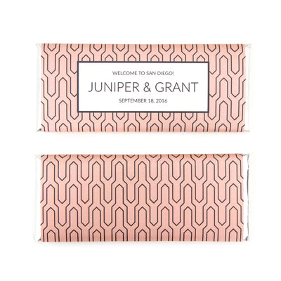 Geometric Arrow Personalized Candy Bar Wrapper - Sweet Paper Shop - Peach, Charcoal Grey, Silver Foil
