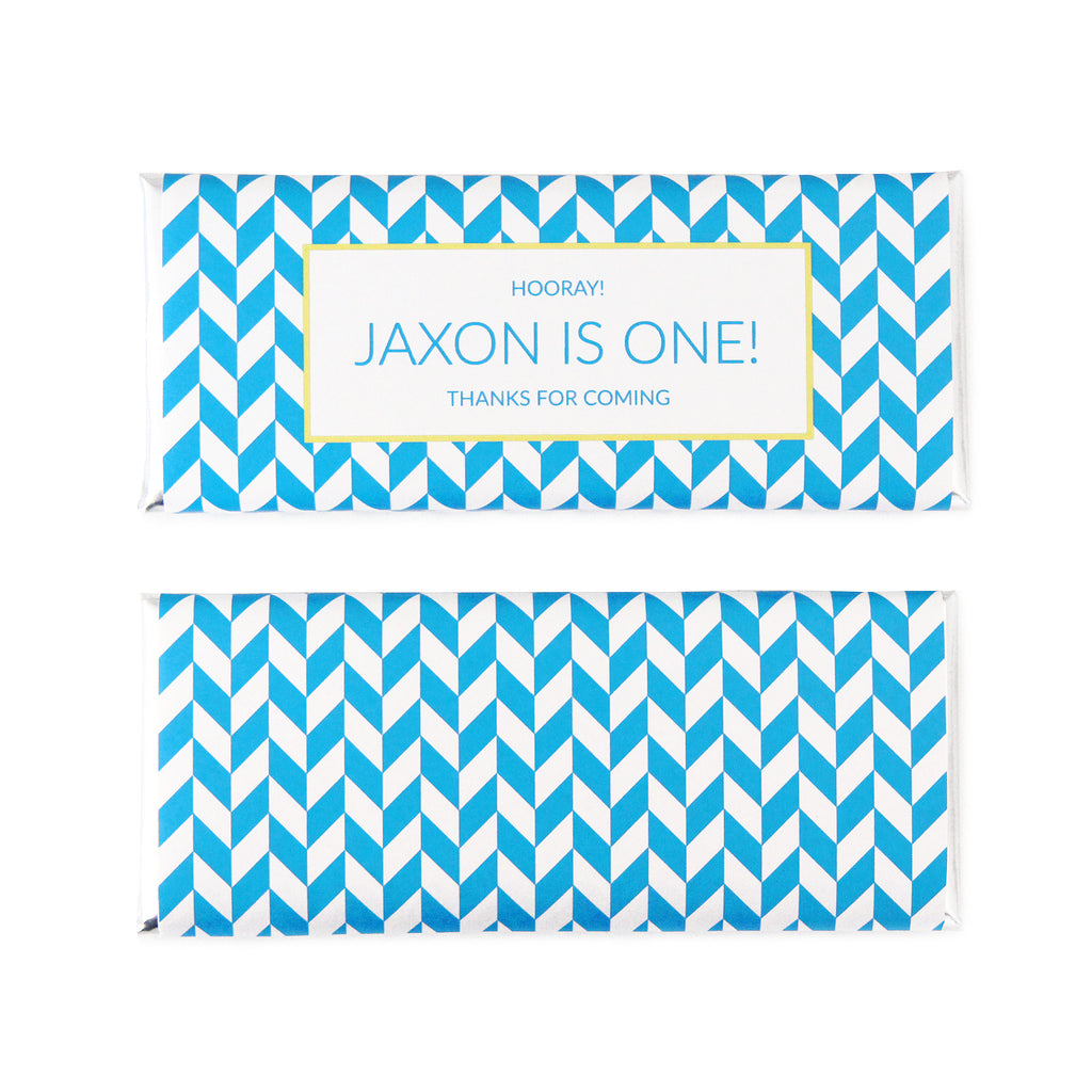 Abstract Chevron Personalized Candy Bar Wrapper - Sweet Paper Shop - Lemon Yellow, Pool Blue, Silver Foil