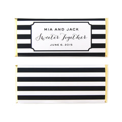 Modern Stripes Personalized Candy Bar Wrapper - Sweet Paper Shop - Black, White, Gold Foil