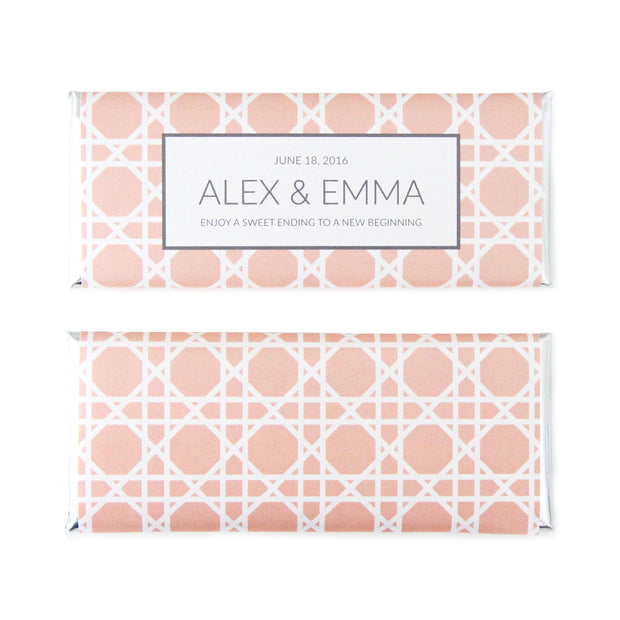 Cane Lattice Pattern Personalized Candy Bar Wrapper - Sweet Paper Shop -  Peach, Mink Grey, Silver Foil