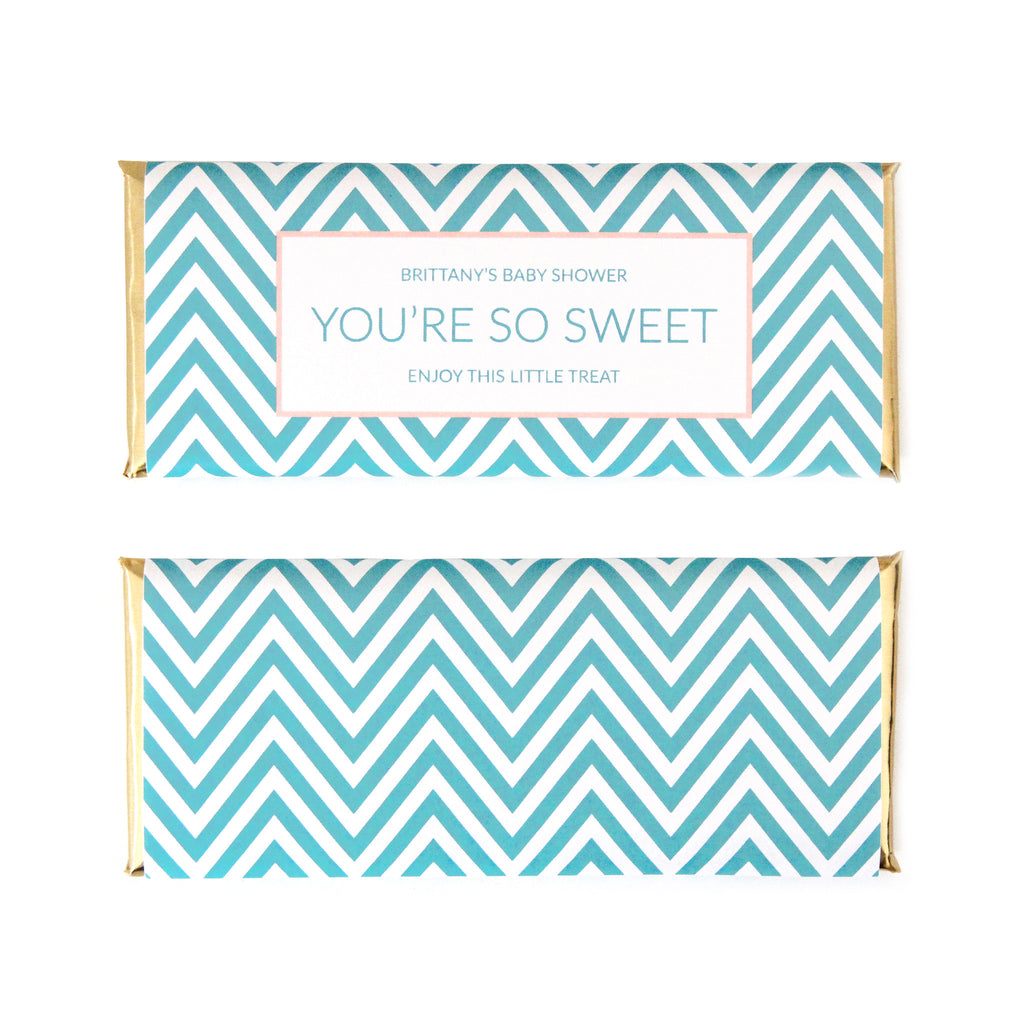 Chevron Personalized Candy Bar Wrapper - Sweet Paper Shop - Aqua Blue, Peach, Gold Foil