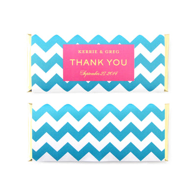 Chevron Personalized Candy Bar Wrapper - Sweet Paper Shop - Turquoise Blue, Hot Pink, Gold Foil