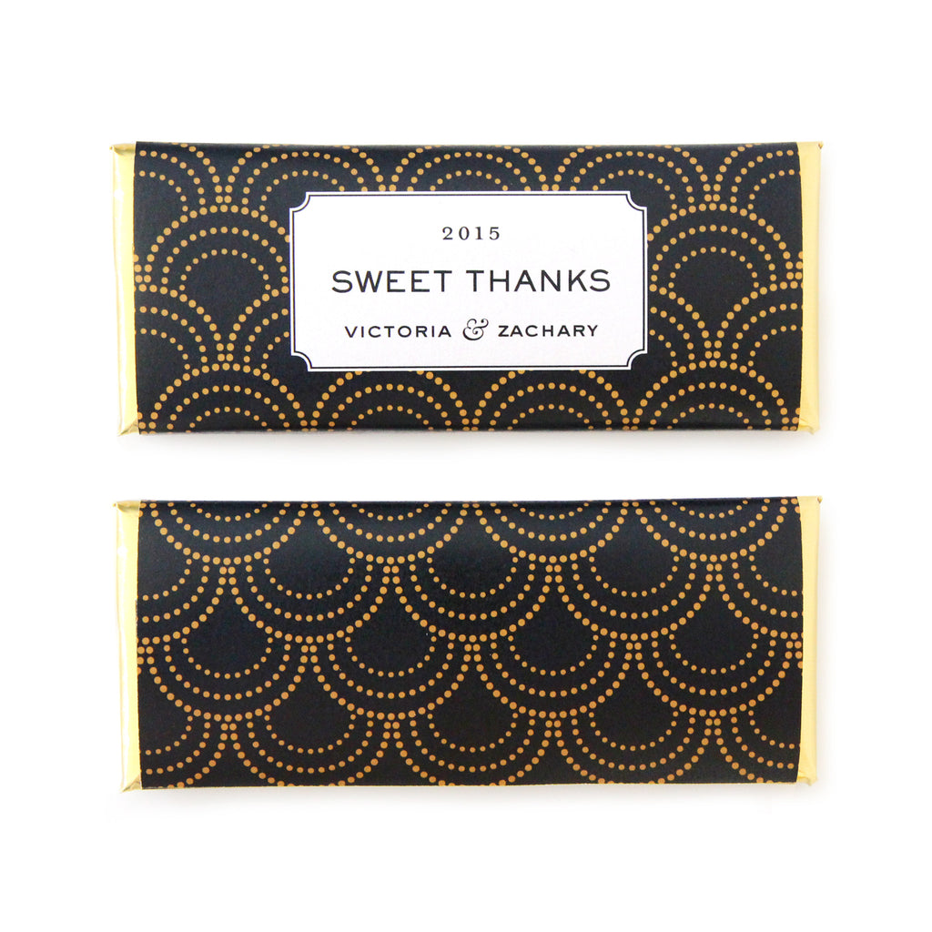 Scallop Burst Personalized Candy Bar Wrapper - Sweet Paper Shop - Black, Gold Foil