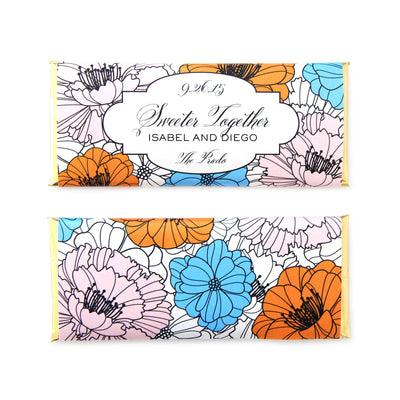 Fancy Flowers Personalized Candy Bar Wrapper - Sweet Paper Shop - Ballet Pink, French Blue, Tangerine Orange, Gold Foil