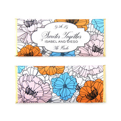 Blooming Garden Flowers Personalized Candy Bar Wrapper - Sweet Paper Shop - Ballet Pink, French Blue, Tangerine Orange, Gold Foil