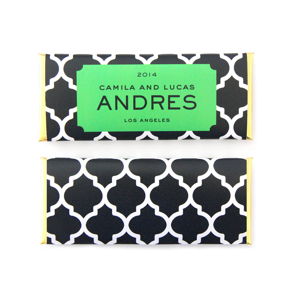 Bold Moroccan Trellis Personalized Candy Bar Wrapper - Sweet Paper Shop - Black, White and Kelly Green