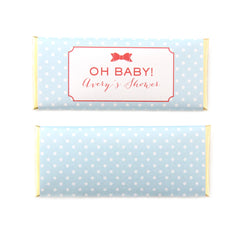 Bow and Polka Dots Personalized Candy Bar Wrapper -Sweet Paper Shop - Sky Blue, Grapefruit Orange, Gold Foil