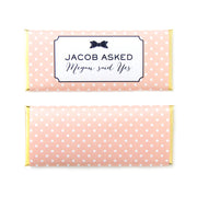 Bow and Polka Dots Personalized Candy Bar Wrapper - Sweet Paper Shop - Peach, Navy Blue, White, Gold Foil