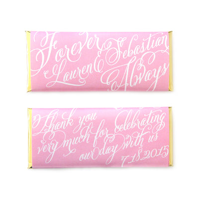 Forever & Always Calligraphy Script Personalized Candy Bar Wrapper - Sweet Paper Shop - Bubblegum Pink and Gold Foil