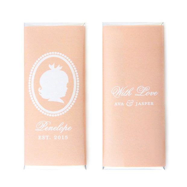 Baby Girl Silhouette Personalized Candy Bar Wrapper - Sweet Paper Shop - Peach and Silver Foil