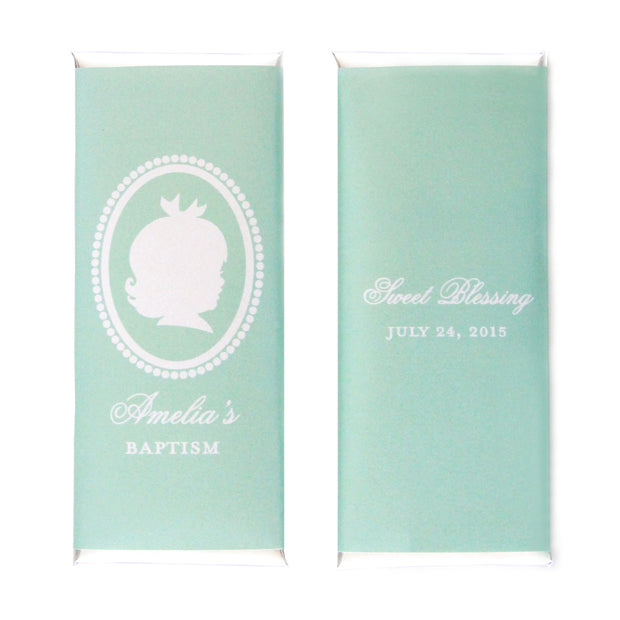 Baby Girl Silhouette Personalized Candy Bar Wrapper - Sweet Paper Shop - Mint and Silver Foil