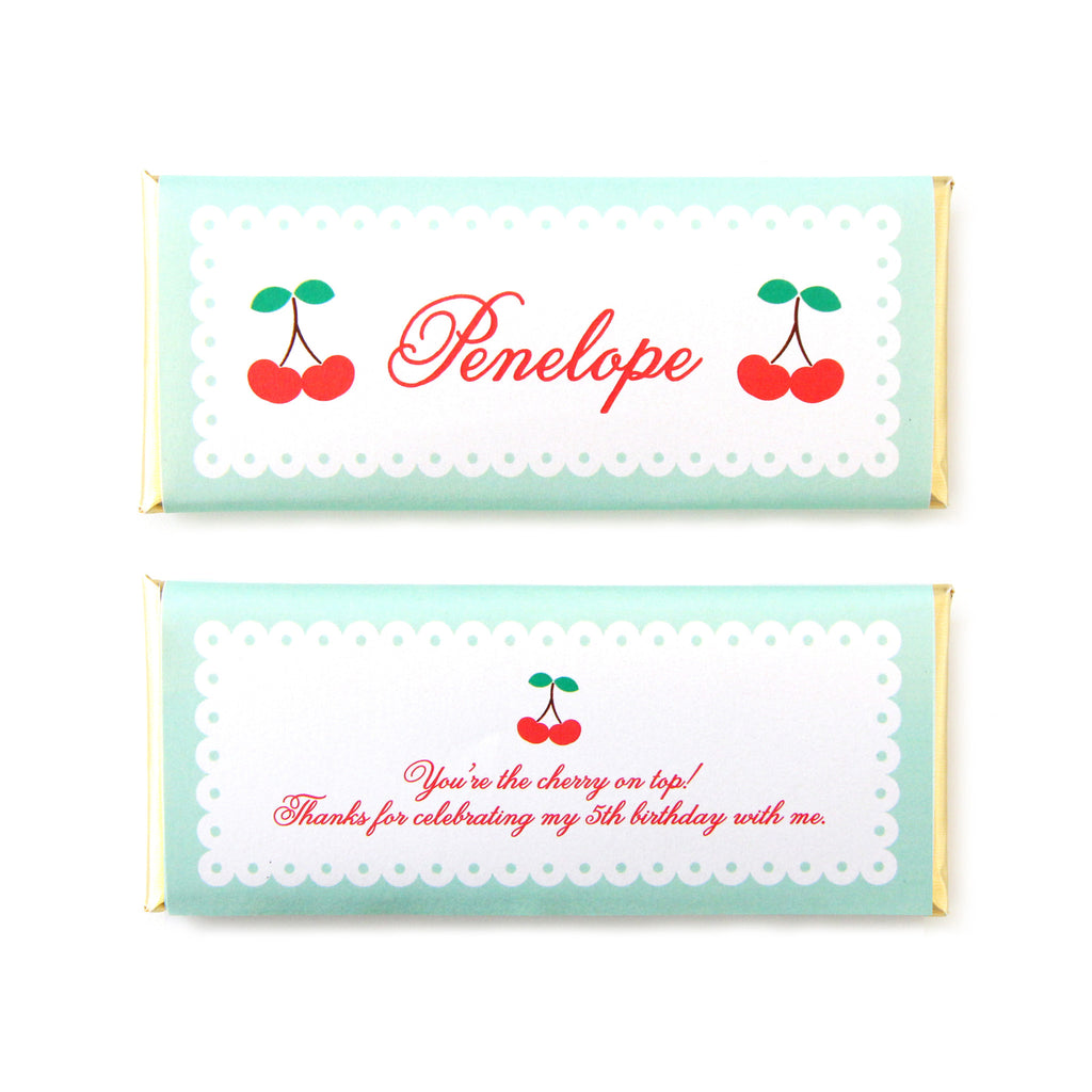 Cherry Picnic Personalized Candy Bar Wrapper - Sweet Paper Shop - Red, Mint Green, Gold Foil