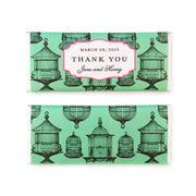 Bird Cage Chinoiserie Personalized Candy Bar Wrapper - Sweet Paper Shop - Celadon Green, Hot Pink, Black, Silver Foil
