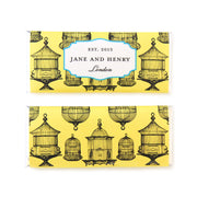 Bird Cage Chinoiserie Personalized Candy Bar Wrapper - Sweet Paper Shop - Lemon Yellow, Black, Silver Foil
