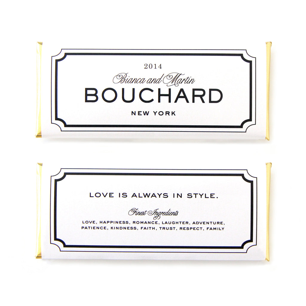 Classic Frame Personalized Candy Bar Wrapper- Sweet Paper Shop - Black, White, Gold Foil