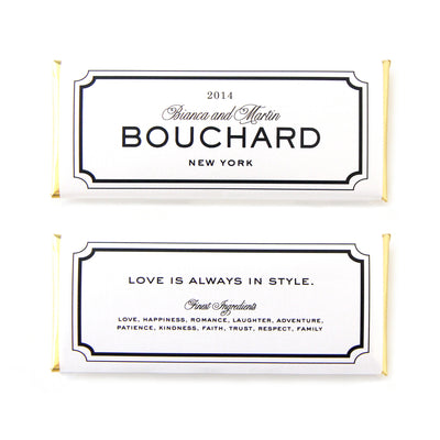 Classic Frame Personalized Candy Bar Wrapper shown with Black and White border, timeless font mix and Gold Foil - Wording features the newlywed couple's names and traditional surname at center | Custom Chocolate Favors for Wedding and Anniversary | Sweet Paper Shop