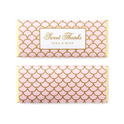 Elegant Scallop Personalized Candy Bar Wrapper - Sweet Paper Shop - Blush Pink and Gold Foil - Wedding Favor