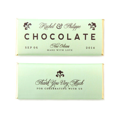 Fleur de lis Personalized Candy Bar Wrapper- Sweet Paper Shop - Pistachio Green, Espresso Brown, Gold Foil