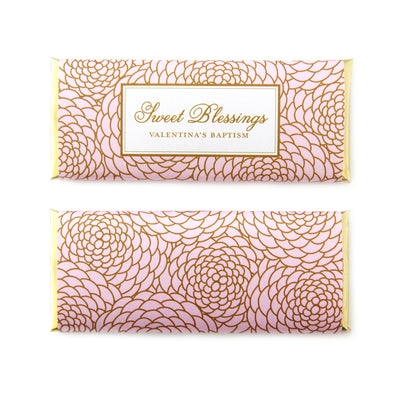 Elegant Floral Personalized Candy Bar Wrapper shown in Ballet Pink with Gold Foils - Sweet Blessings Wording Idea - Baptism & Christening Custom Chocolate Favors | Sweet Paper Shop