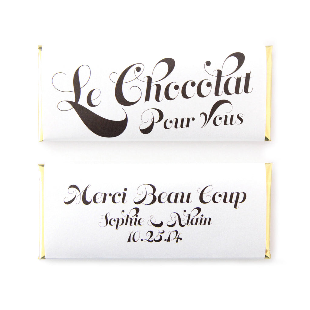 Le Chocolat Pour Vous Personalized Candy Bar Wrapper - Sweet Paper Shop