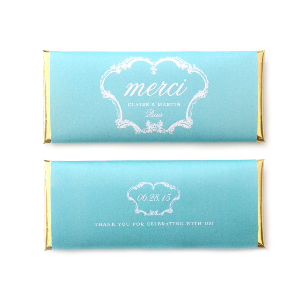 French Vintage Merci Personalized Candy Bar Wrapper - Sweet Paper Shop - Tiffany Blue, Gold Foil - Wedding & Bridal Shower Favor