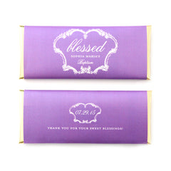 French Vintage Blessed Personalized Candy Bar Wrapper - Sweet Paper Shop - Lilac Purple, Gold Foil - Baptism, Christening Favor