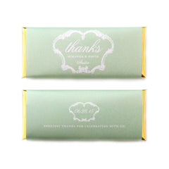 French Vintage Thanks Personalized Candy Bar Wrapper - Sweet Paper Shop - Pistachio Green, Gold Foil - Wedding & Bridal Shower Favor