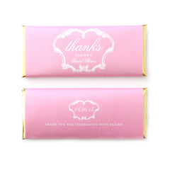 French Vintage Thanks Personalized Candy Bar Wrapper - Sweet Paper Shop - Bubblegum Pink, Gold Foil - Wedding & Bridal Shower Favor