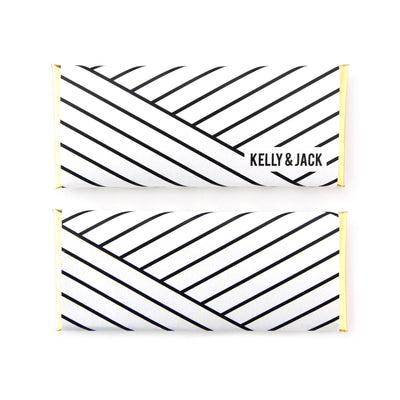 Geometric Stripes Personalized Candy Bar Wrapper - Sweet Paper Shop - Black, White and Gold Foil