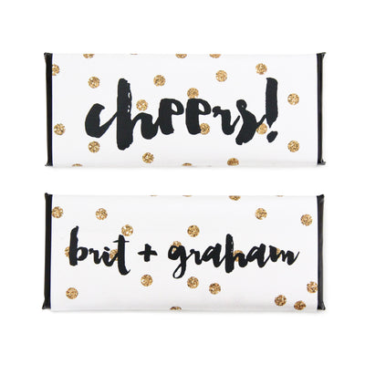 Gold Glitter Confetti Dots Personalized Candy Bar Wrapper - Sweet Paper Shop - Gold Glitter, Black Foil