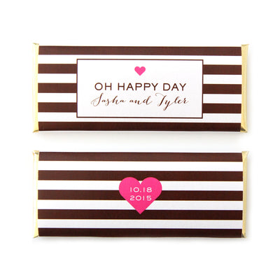 Heart and Stripes Personalized Candy Bar Wrapper - Sweet Paper Shop - Hot Pink, Brown, Gold Foil