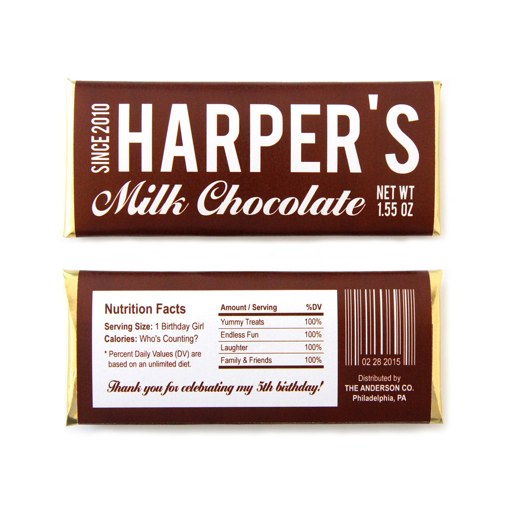 Nutrition Facts Personalized Candy Bar Wrapper - Sweet Paper Shop