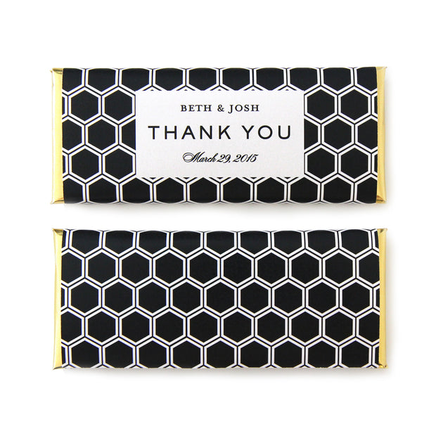 Honeycomb Personalized Candy Bar Wrapper - Sweet Paper Shop - Black, White, Gold Foil