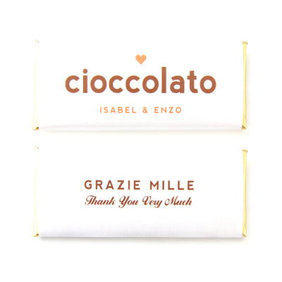 Italian Cioccolato Grazie Personalized Candy Bar Wrapper - Sweet Paper Shop