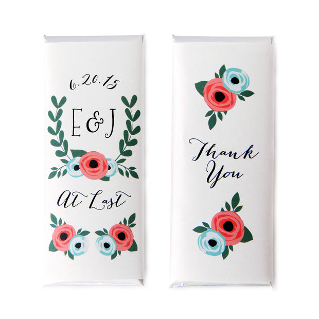 Laurel Rose Monogram Personalized Candy Bar Wrapper - Sweet Paper Shop