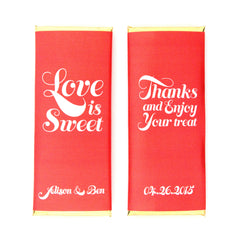 Love is Sweet Whimsical Personalized Candy Bar Wrapper - Sweet Paper Shop - Cherry Red and Gold Foil - Valentine Favor
