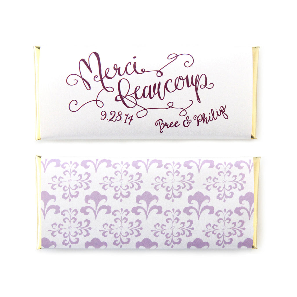 Merci Beaucoup Personalized Candy Bar Wrapper - Sweet Paper Shop - Lilac, Aubergine, Gold Foil