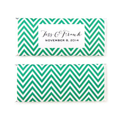Mod Chevron Personalized Candy Bar Wrapper - Sweet Paper Shop - Black, Green, White, Gold Foil